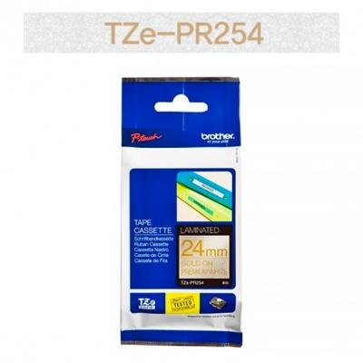 브라더정품 라벨테이프 TZe-PR254(24mm x 4M) (프리미엄화이트바탕/금색글씨)