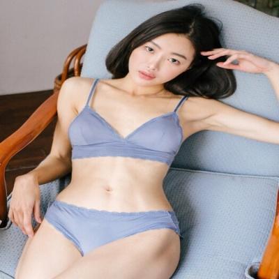 [울랄라파자마] 누디볼륨 라라렛+삼각팬티 블루 SET
