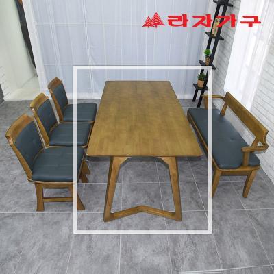 크레 고무나무 원목 6인용 식탁 테이블