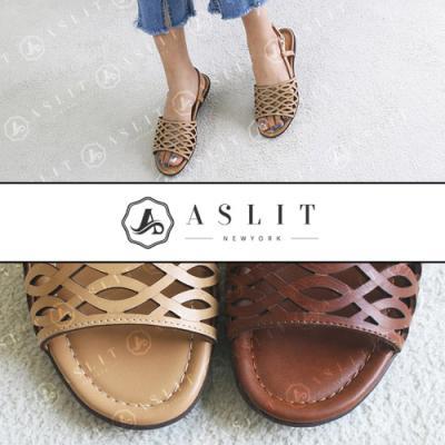 [애슬릿]발 편한 여름 물결 무늬 토오픈 슬링백 샌들
