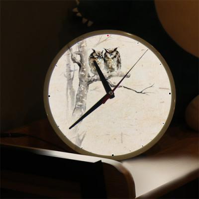ng291-LED시계액자25R_나무위의부엉이