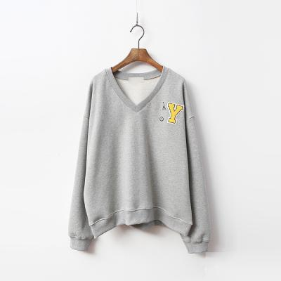 Cotton Gimo V-Neck Sweatshirt - 기모안감
