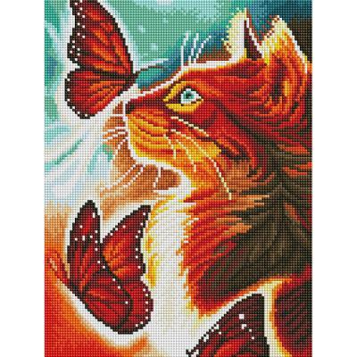 붉은나비와 고양이 (캔버스형) 보석십자수 30x40