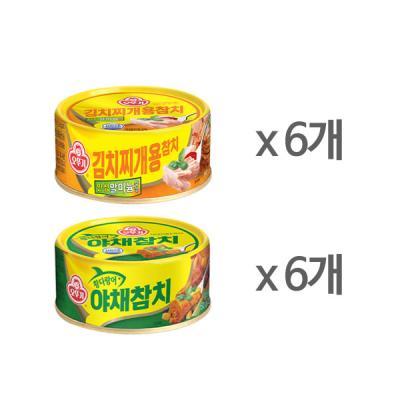[오뚜기] 김치찌개용 참치 x 6 + 야채 참치 x 6