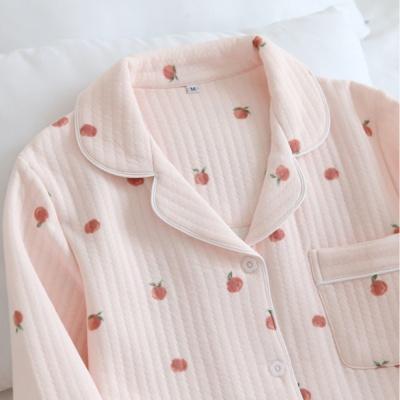 도톰한 퀄팅 순면 미니복숭아 겨울 잠옷