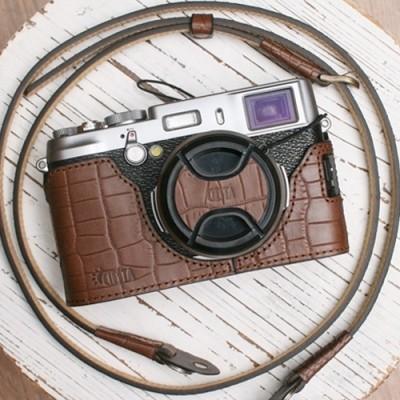 씨에스타 X100S 가죽케이스+렌즈캡+넥스트랩 - 크로커다일