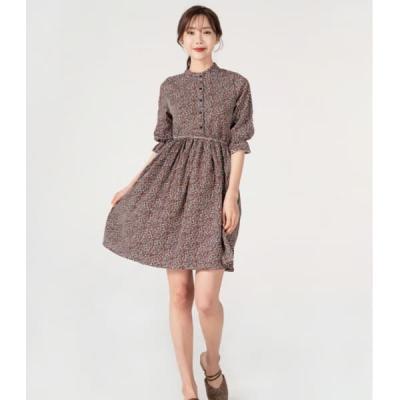 여성 원피스 드레스 데일리 차이나 플라워 7부 소매