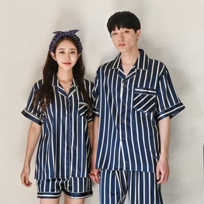 스트라이프 여름 실크 커플 잠옷