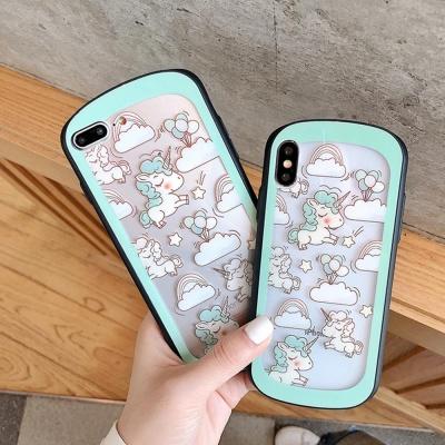 아이폰 귀여운 유니콘 패턴 캐릭터 하드 폰케이스