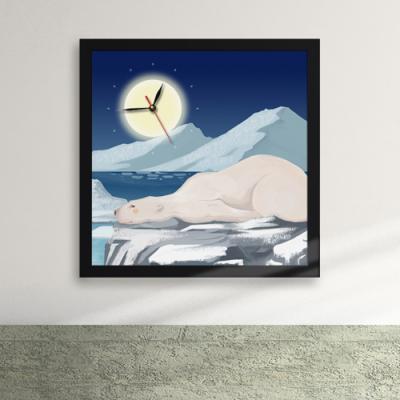 iw049-달밤아래의북극곰액자벽시계_디자인액자시계
