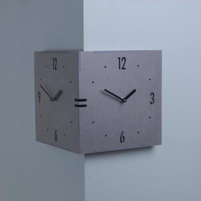 [하이모리] 타임데코 코너 벽시계 그레이 - 대 [인테리어시계/월클락/양면벽시계]