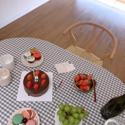 에블린 깅엄 체크 방수 식탁보 4인M