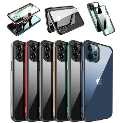 아이폰11 PRO MAX 컬러라인 범퍼 투명 강화유리케이스