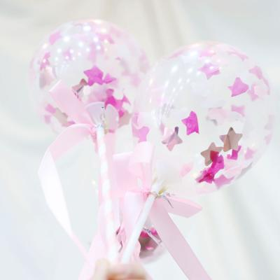 미니 컨페티풍선 장식세트 6입 스타 (핑크)