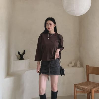 여성 여자 데일리 긴팔 티셔츠 뎀 스트링 라운드 7부