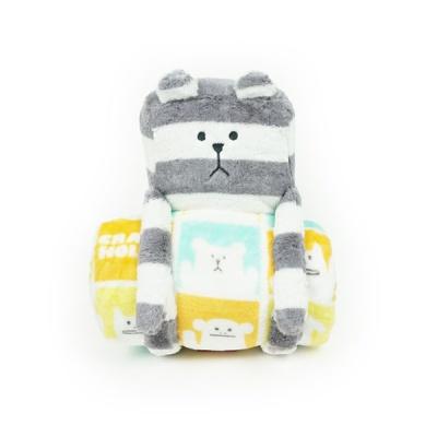 크래프트홀릭 BORDER SLOTH Blanket with Cushion-YL