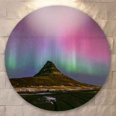 tf751-원형아크릴액자_아이슬란드의오로라풍경