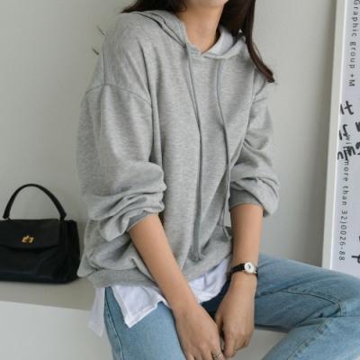 [애슬릿]국내 생산 여성 레이어드 긴팔 후드 티셔츠