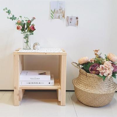 원목 미니탁자 침대협탁 수납스툴 테이블