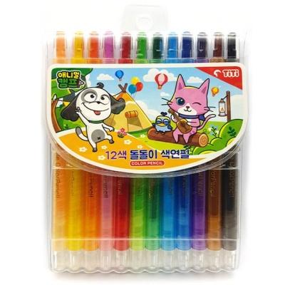 12색 애니멀캠프 돌돌이색연필 샤프식색연필