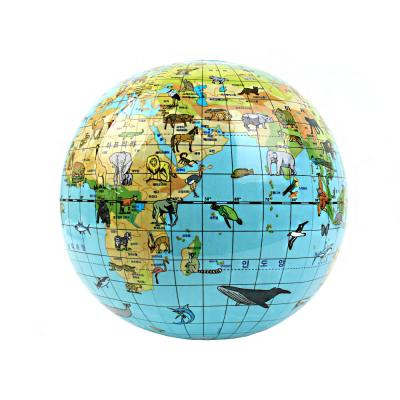 [칼리] 애니멀에어글로브 한글표기 지구본 대륙별동물