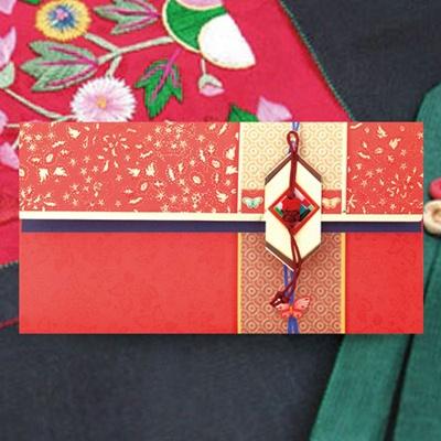 조각보 홍색매듭 전통 용돈봉투 FB217-5