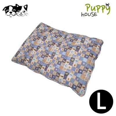 퍼피하우스 플래드 강아지 평방석 (블루) (L)