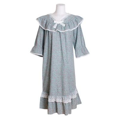 [쿠비카]V넥 레이스 프릴 순면 원피스 여성잠옷 W554