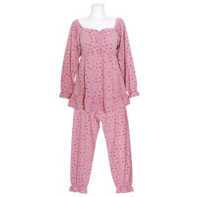 [쿠비카]플라워 셔링 캡 내장 투피스 여성잠옷 W841