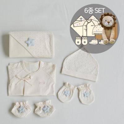 오가닉베이비샤워선물6종세트(의류5종+수면사자인형)