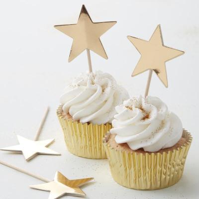 골드 별모양 컵케익 토퍼 Gold Star Cupcake Toppers