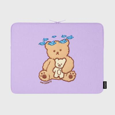 Blue bird bear-purple-15inch notebook pouch