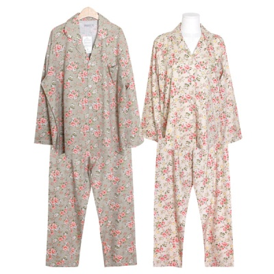 [쿠비카]플라워 카라넥  긴팔 투피스 커플잠옷 WM300