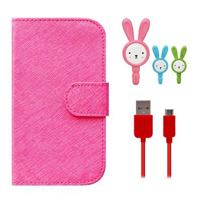 갤럭시S3 CARD HOLDER Flip 핑크+말랑말랑 토순이+USB 케이블