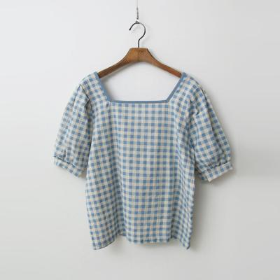 Linen Cotton Check Puff Blouse