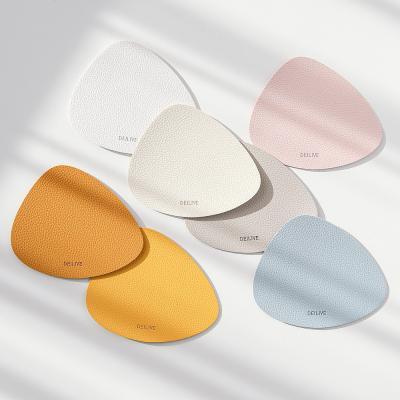 홈카페 고급 방수 가죽 양면 조약돌 티코스터 컵받침