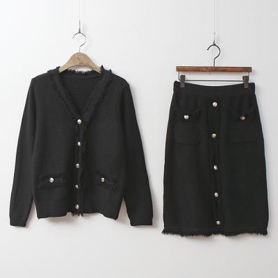 [Set] Tweed Knit Cardigan + Skirt