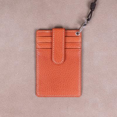 [이니셜무료] 이태리 슈렁큰 목걸이카드지갑 (오렌지)