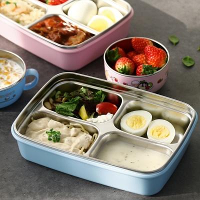 해피램 유아 4구버튼 스텐 식판(블루)