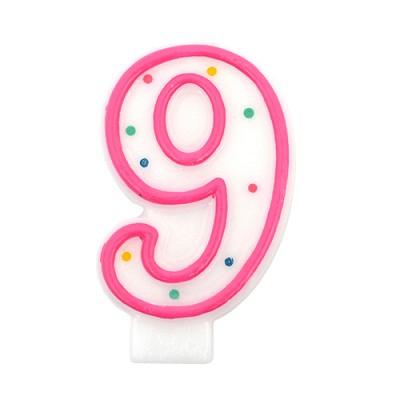 도트 숫자초9-핑크