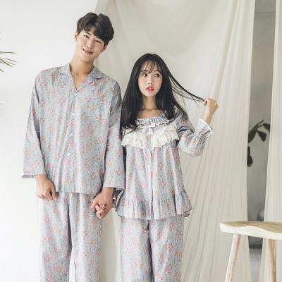 [쿠비카]플라워 순면 프릴 투피스 커플잠옷 WM105