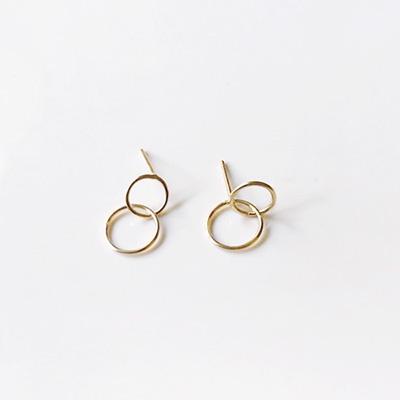 10k gold double ring earring