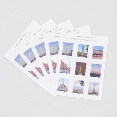 메리필름 런던 파리 감성 우표 스티커 5장 1set