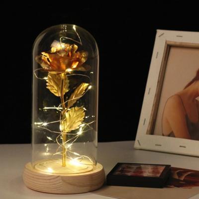 황금장미 카네이션 로즈 무드등 LED 유리돔 금장미 꽃