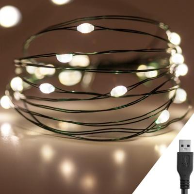 스트링라이트 10M USB 웜골드_그린 와이어