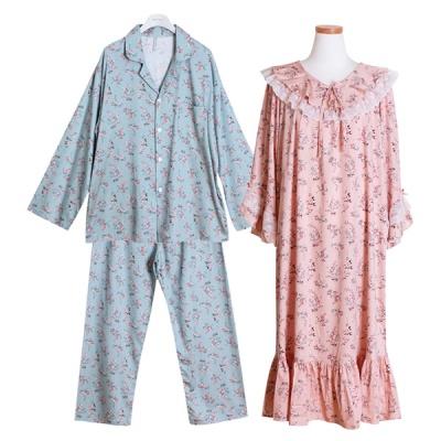 [쿠비카]2중 프릴 레이스 원피스 커플잠옷 WM239