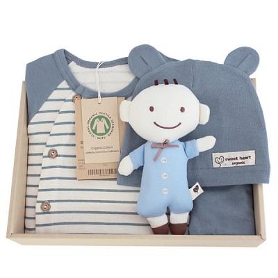[출산선물/백일선물/돌선물]오가닉 블루베어 행복 선물세트