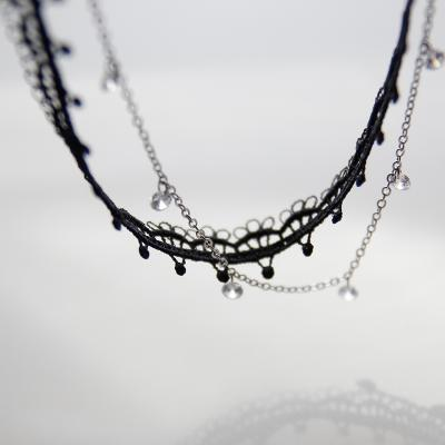 제이로렌 N0917 크리스탈 레이드 두줄 초커목걸이