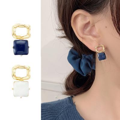 예오니 사각 골드 레이어드 여성 귀걸이 925 silver