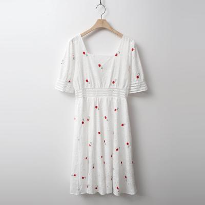 White Lace Puff Dress